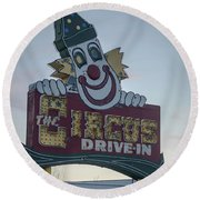 Round Beach Towel featuring the photograph The Circus Drive In Sign Wall Township Nj by Terry DeLuco