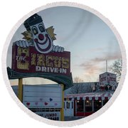 Round Beach Towel featuring the photograph The Circus Drive In Wall Township Nj by Terry DeLuco