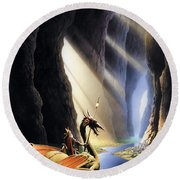 The Citadel Round Beach Towel by The Dragon Chronicles - Steve Re