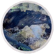 Round Beach Towel featuring the painting The City And The Mountain by Nancy Kane Chapman