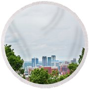Round Beach Towel featuring the photograph The City Beyond by Shelby Young