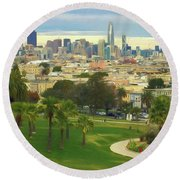 The City From Dolores Park Round Beach Towel