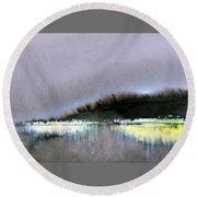 Round Beach Towel featuring the painting The City Lights by Ed Heaton