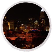 Round Beach Towel featuring the digital art The City Of Charlotte Nc At Night by Chris Flees