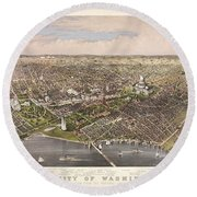 The City Of Washington Round Beach Towel by Charles Richard Parsons