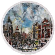 The City Touched By The Sunset Round Beach Towel