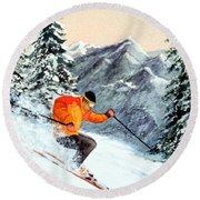 Round Beach Towel featuring the painting The Clear Leader Skiing by Bill Holkham