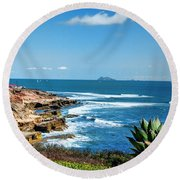 The Cliffs Of Point Loma Round Beach Towel by Daniel Hebard