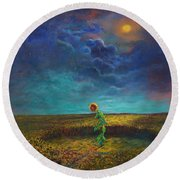 The Clock Of God Round Beach Towel