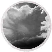 Round Beach Towel featuring the photograph The Cloud Gatherer by John Bartosik