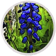 The Cobalt Blue Flowers And The Long Green Grass Round Beach Towel