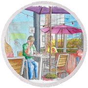 The Coffee Bean In Sunset Blvd Acroos Directors Guild, West Hollywood, California Round Beach Towel by Carlos G Groppa