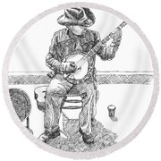 The Cold Banjo Player Round Beach Towel