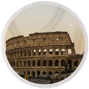 The Coliseum And The Full Moon Round Beach Towel