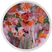 Round Beach Towel featuring the painting The Color Of Summer by Nancy Kane Chapman