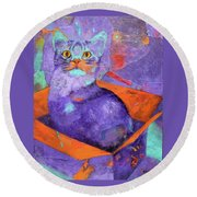 Round Beach Towel featuring the painting The Color Purrrple by Nancy Jolley
