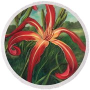 Round Beach Towel featuring the painting Triumph Of Red by Randol Burns