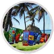 Round Beach Towel featuring the photograph The Colors Of Barbados by Kurt Van Wagner