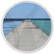 Round Beach Towel featuring the photograph The Colors Of Lake Michigan by Fran Riley