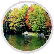 Round Beach Towel featuring the photograph The Colors Of Lake Raponda - Wilmington, Vermont by Joseph Hendrix