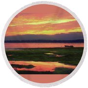The Colors Of Ship Creek Round Beach Towel