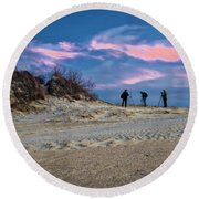 The Colors Of Sunset Round Beach Towel