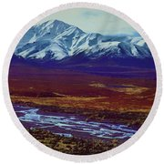 The Colors Of Toklat River Round Beach Towel