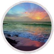 Round Beach Towel featuring the photograph The Colour Before The Darkness by Tara Turner