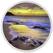 Round Beach Towel featuring the photograph The Colour Of Molokai Nights by Tara Turner