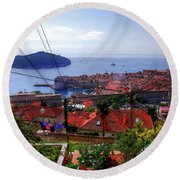 The Colourful City Of Dubrovnik Round Beach Towel