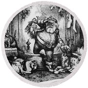 The Coming Of Santa Claus Round Beach Towel