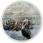 Round Beach Towel featuring the photograph The Conductor by Diane Schuster