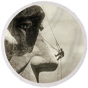 The Construction Of The Mount Rushmore National Memorial, Detail Of Abraham Lincoln,1928  Round Beach Towel