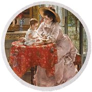 The Contented Mother Round Beach Towel