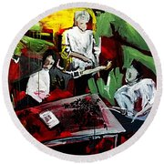 Round Beach Towel featuring the painting The Contract by Helen Syron