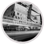 Round Beach Towel featuring the photograph The Cooper Union Nyc Bw by Susan Candelario