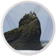 The Cormorants And The Sea Sphinx Round Beach Towel by I'ina Van Lawick