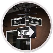 The Corner Of Royal And St. Ann, New Orleans, Louisiana Round Beach Towel