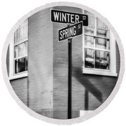 The Corner Of Winter And Spring Bw Round Beach Towel