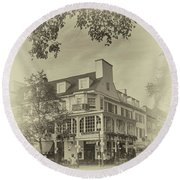 The Corner Room In Sepia Round Beach Towel by Tom Gari Gallery-Three-Photography