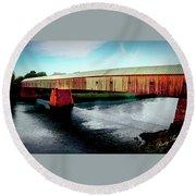 The Cornish-windsor Covered Bridge  Round Beach Towel