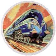 The Coronation Scot - Vintage Blue Locomotive Train - Vintage Travel Advertising Poster Round Beach Towel
