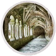 The Corridors Of The Monastery Round Beach Towel