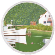 The Cottage At Blackberry Point Round Beach Towel