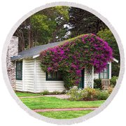 Round Beach Towel featuring the photograph The Honeymoon Cottage At Mission Ranch by Glenn McCarthy