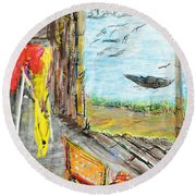 The Cottage By The River Round Beach Towel