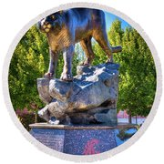 The Cougar Pride Sculpture Round Beach Towel