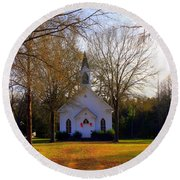 The Country Church Round Beach Towel by Kathy White