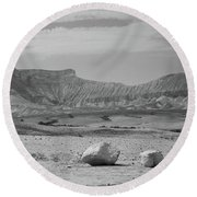 the couple of stones in the desert II Round Beach Towel