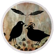 The Courtship Square Brown Round Beach Towel